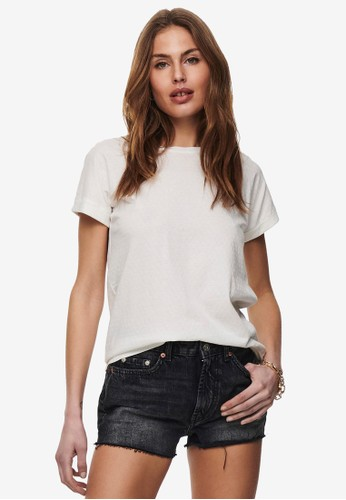 JACQUELINE DE YONG white Pastel Short Sleeve Fold Up Top 7CC59AAA757BFFGS_1