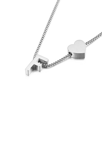 Glamorousky silver Simple and Fashion Heart-shaped English Alphabet F 316L Stainless Steel Pendant with Necklace 2319AAC10E344CGS_1