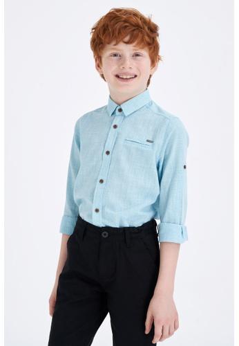 DeFacto blue Long Sleeve Cotton Shirt 8D3AAKA5A56D02GS_1