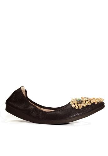 Twenty Eight Shoes 黑色 舒適人造鑽石和珠飾閃光豆豆鞋 VL6283 CCD6CSHB003465GS_1