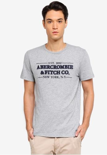 Abercrombie & Fitch 灰色 LOGO印花T恤 F188DAA8BCD59EGS_1