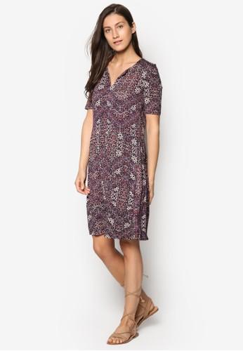 印花短袖連身裙, 服esprit outlet hk飾, 洋裝