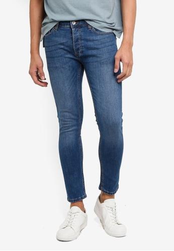 Topman blue Mid Wash Stretch Skinny Jeans 13874AAADBA3F8GS_1