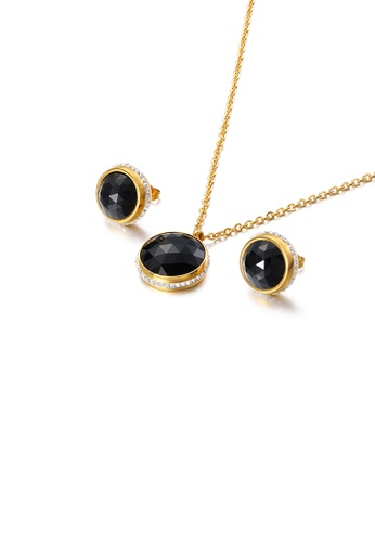 Glamorousky white Fashion Temperament Plated Gold Geometric Round 316L Stainless Steel Necklace and Stud Earring Set with Black Cubic Zirconia 9CB82ACA9CEA2CGS_1