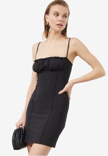 Trendyol black Gathered Detail Bodycon Dress 4AA49AA4E567C9GS_1