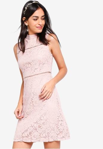 ZALORA pink Bridesmaid High-Neck Lace Pencil Dress F7530AA4764B4BGS_1