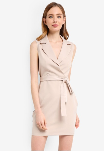 ZALORA beige Formal Lapel Dress 32A96AA9EC1B4EGS_1