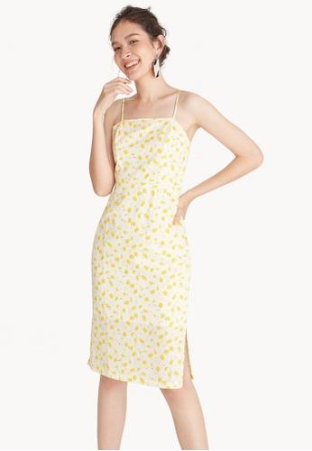 Pomelo yellow Midi Cami Floral Dress 94920AA9B5FD23GS_1