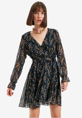 Trendyol black Wrap Tie Waist Dress 0F655AAFB2897DGS_1