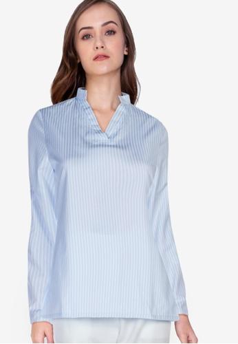ZALORA WORK multi Mandarin Collar Rolled Up Sleeve Shirt 8B441AAE9C672CGS_1