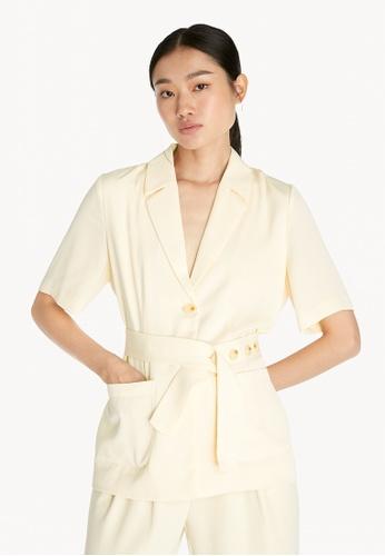 Pomelo beige Button Belt Top - Cream 5C130AAF07E2B6GS_1