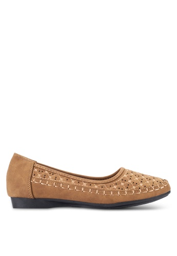 Louis Cuppers brown Perforated Flats LO977SH95REMMY_1