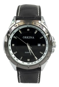 Orkina Men's Business Black Color Leather Strap Fashion Wrist Watch