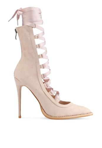 Public Desire pink Vanity Strappy Ribbon Lace Up Heels C8E1ESH010902BGS_1