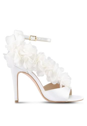 Velvet white Floral Satin Heels EF963ZZ1660A86GS_1