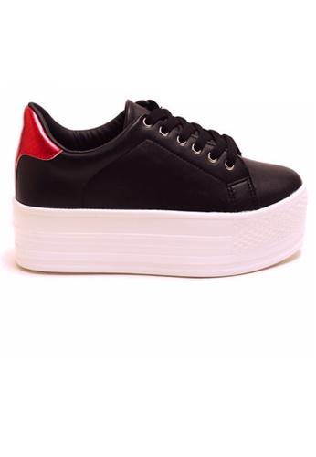 Crystal Korea Fashion 黑色 韓國製新款百搭厚底休閒鞋 EC314SHFE2DB37GS_1