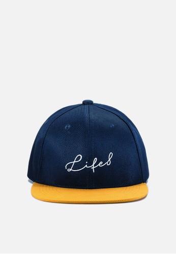 MIT esprit 會員撞色刺繡。棒球帽-藍/黃, 飾品配件, 鴨舌帽