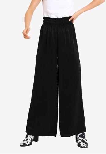 PIMKIE black Wide Leg Flowy Pants DF568AACFBF433GS_1