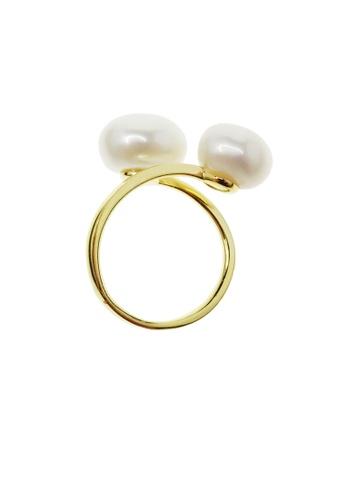 RAM Jewelry gold Mia Two Pearls Ring RA226AC05LMGPH_1