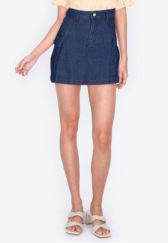 ZALORA BASICS 藍色 Utility Pocket Denim Skirt DED17AA1B9F191GS_1