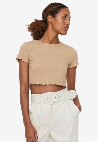 Vero Moda beige Short Sleeve Crop Top D7E09AA0431E77GS_1