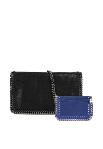 STELLA MCCARTNEY black SET OF STELLA MCCARTNEY FALABELLA QUILTED CROSSBODY BAG AND CARD CASE 2A018AC429EE38GS_1