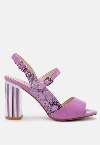 London Rag 紫色 制作于London Rag 露趾蛇纹凉鞋 6B52ASH7082E94GS_1
