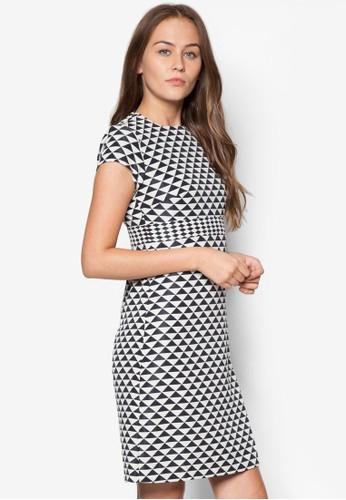 幾何印花短袖洋裝, 服飾,esprit 澳門 洋裝