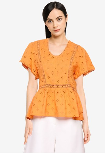 JACQUELINE DE YONG orange Vera Life Short Sleeve Top 0FE11AA796F718GS_1