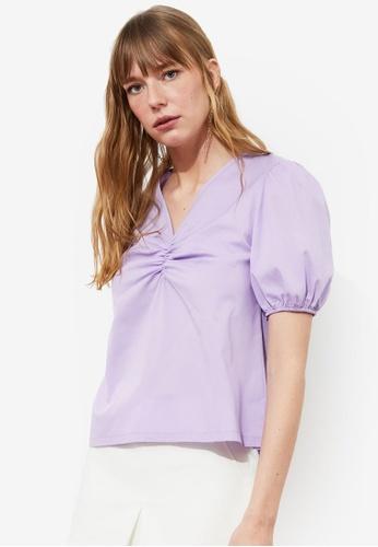 Trendyol purple Gathered Detail Puff Sleeve Top 46C8BAA05DF241GS_1