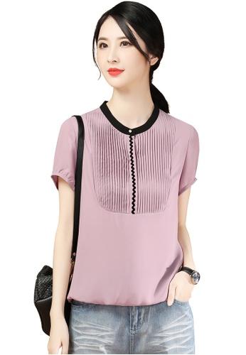 A-IN GIRLS pink Fashion Stand Collar Chiffon Blouse 894B0AA39F63ABGS_1