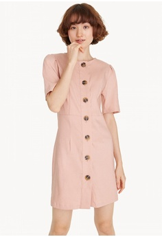 b5af112863d57e Pomelo pink Mini Tortoise Shell Button Down Dress 71520AA62929CEGS 1