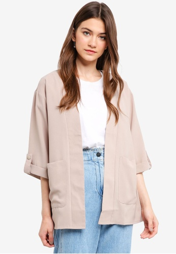Something Borrowed beige Cuffed Sleeves Kimono 5391CAA04654EEGS_1