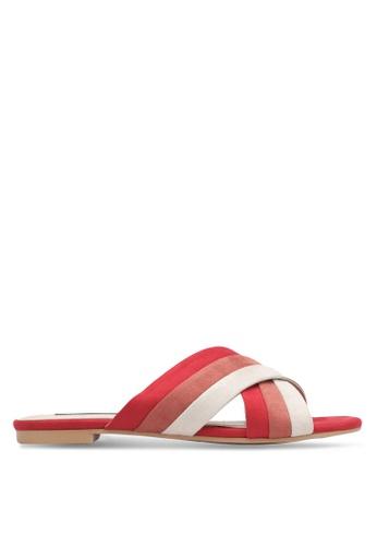 ZALORA red Cross Strap Sandals 7ABDBSH32376D7GS_1
