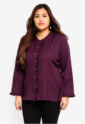Gene Martino purple Plus Size Muslimah Top 726D6AA39BE8A8GS_1