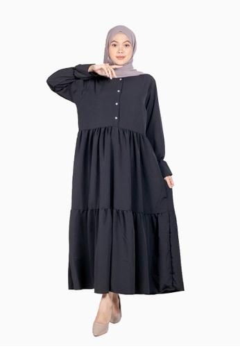 Beautika Fashion black Maya Black Muslimah Long Dress Maxi Jubah Casual Basic Simple Plain 88195AA5AECC23GS_1