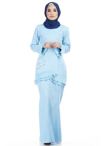 Eshika Kurung with Layered Pleated Hem from Ashura in Blue