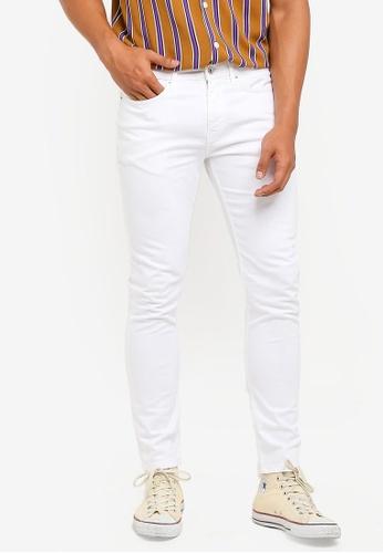 Topman 白色 White Stretch Skinny Jeans 88366AAD3E7B5FGS_1