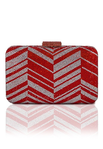 The Chic Initiative red Zig Zag Crystal Clutch (Red) TH778AC0T0OTMY_1