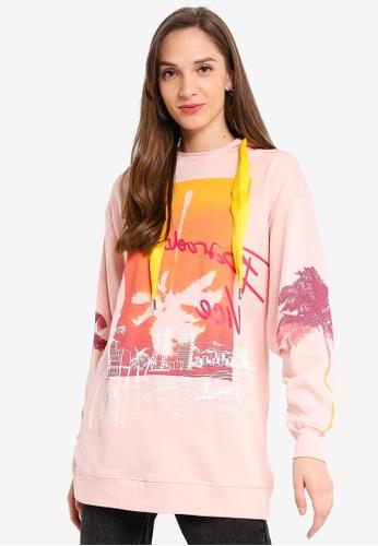 Desigual pink Tropical Bar Sweatshirt 608AFAAB6C5EA7GS_1