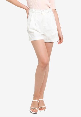 Hopeshow white Paperbag Waist Flare Cuff Shorts with Contrast Belt DDA69AA21B314EGS_1