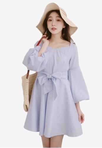 Eyescream blue Bubble Sleeves Flare Dress CE198AACFA81C9GS_1