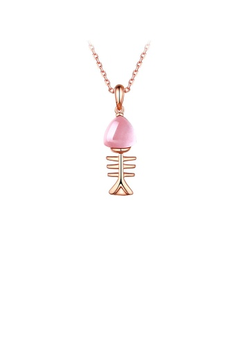 Glamorousky pink 925 Sterling Silver Fish Bone Pendant with Pink Crystal and Necklace 1731EACA8103DAGS_1