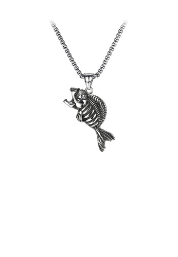 Glamorousky silver Simple Personality Skeleton Fish Bone 316L Stainless Steel Pendant with Necklace 0F490ACFD65735GS_1