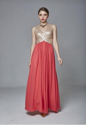 性感晚宴優雅亮片拼接雪esprit 特賣紡長禮服, 服飾, 派對洋裝