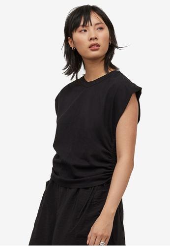 H&M black Drawstring T-Shirt 04BCDAA458026AGS_1