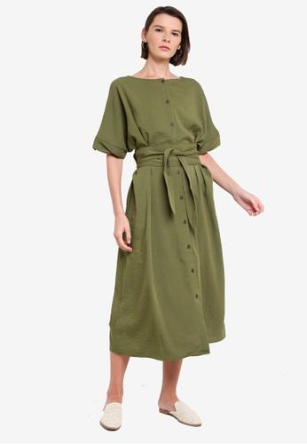 niko and ... green Half Sleeve Midi Dress 8BD74AAB4744DEGS_1