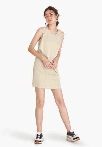 Pomelo beige Mini Asymmetric Slash Dress - Beige 74A9EAA060C0B0GS_1