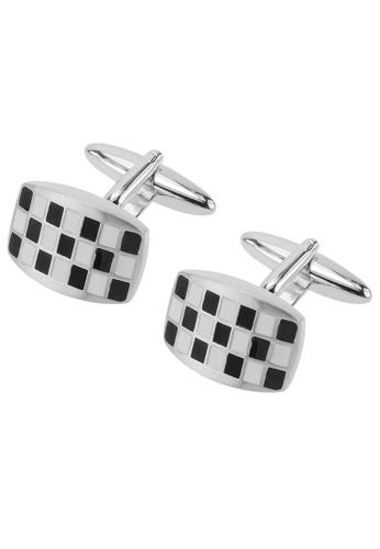 CUFF IT black and white Black and White Checker Domed Cufflinks CU047AC96DCHHK_1