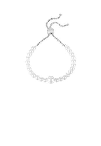 Glamorousky white Fashion and Elegant Imitation Pearl Heart-shaped Adjustable 316L Stainless Steel Bracelet E25C2AC14652A6GS_1